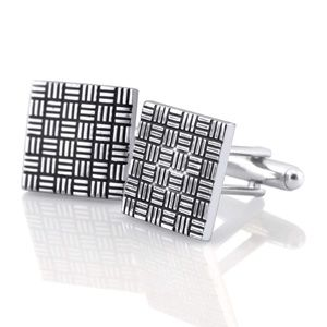 Modern Mens Alloy Metal Square Cuff Links Silver